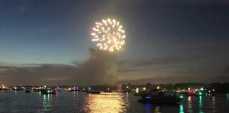 People in boats had a front row seat to the fireworks show. (Photo by Judy Smestad-Nunn)